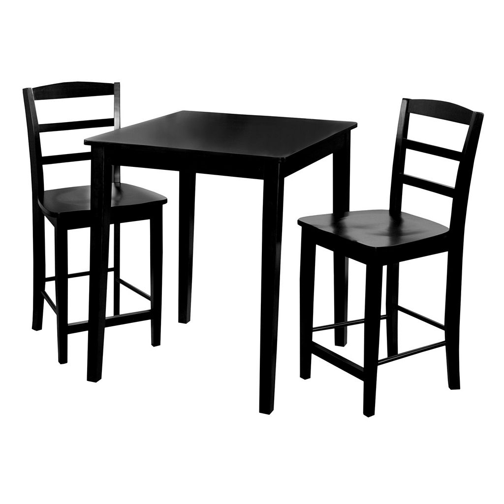 3-pc. Madrid Contemporary Black Dining Table & Counter Stool Set