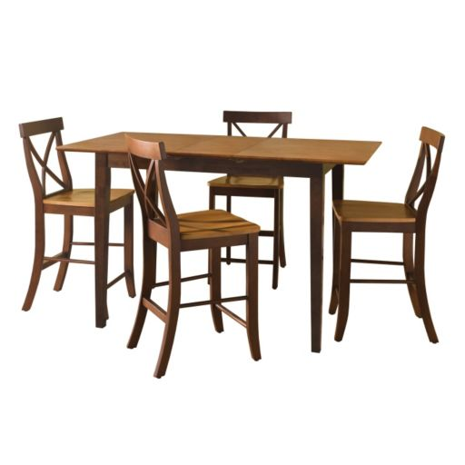 5-pc. Butterfly Extension Dining Table and Counter Stool Set