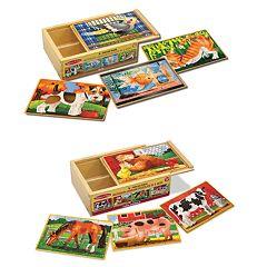 Melissa & Doug Pets & Farm Box Puzzle Bundle