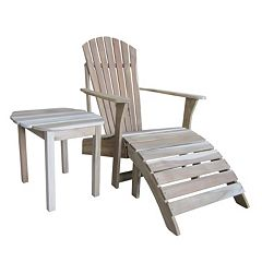 3 pc Adirondack Natural Lounge Chair, Footrest & Table Set