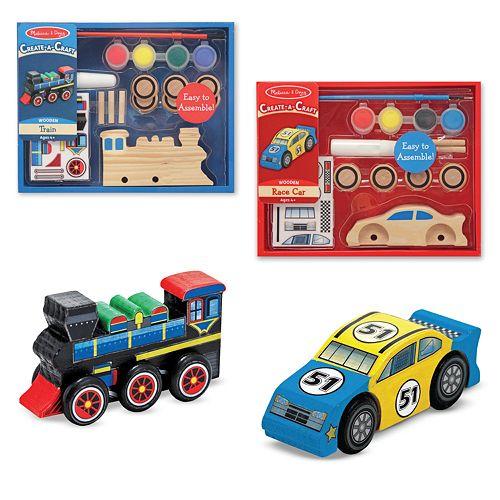 Melissa & Doug Create-A-Craft Race Car & Train Bundle