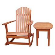 2 pc Adirondack Porch Rocker & Side Table Set