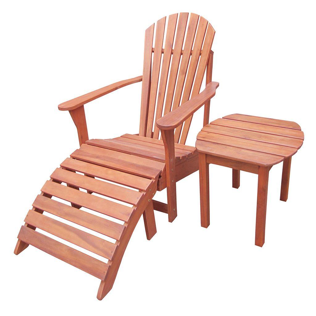 3-pc. Adirondack Lounge Chair, Footrest & Table Set