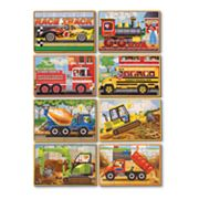 Melissa and Doug Vehicles and Construction Box Puzzle Bundle