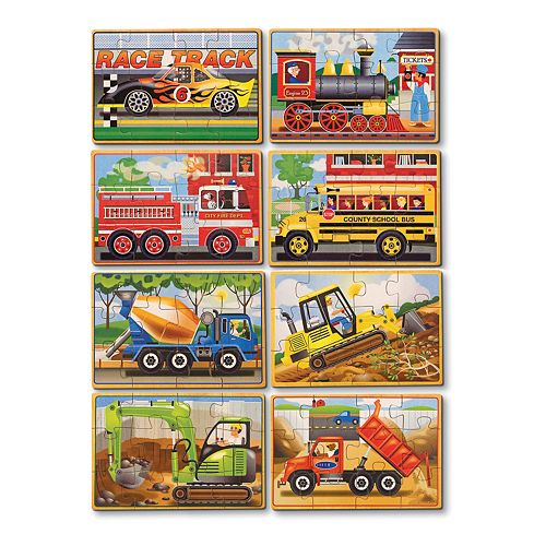 Melissa & Doug Vehicles & Construction Box Puzzle Bundle