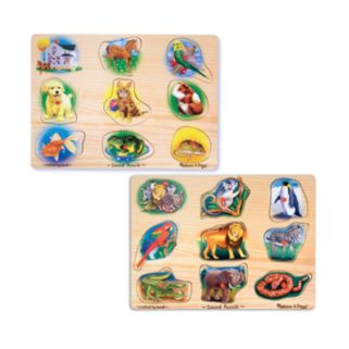 Melissa and Doug Pet and Zoo Animals Sound Puzzle Bundle