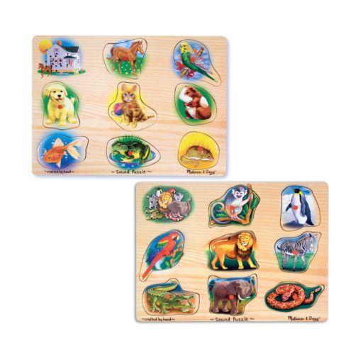 Melissa and Doug Pet and Zoo Animals Sound Puzzle Bundle