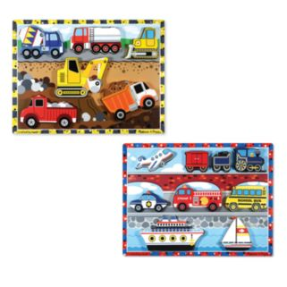 Melissa and Doug Vehicles and Construction Chunky Puzzle Bundle