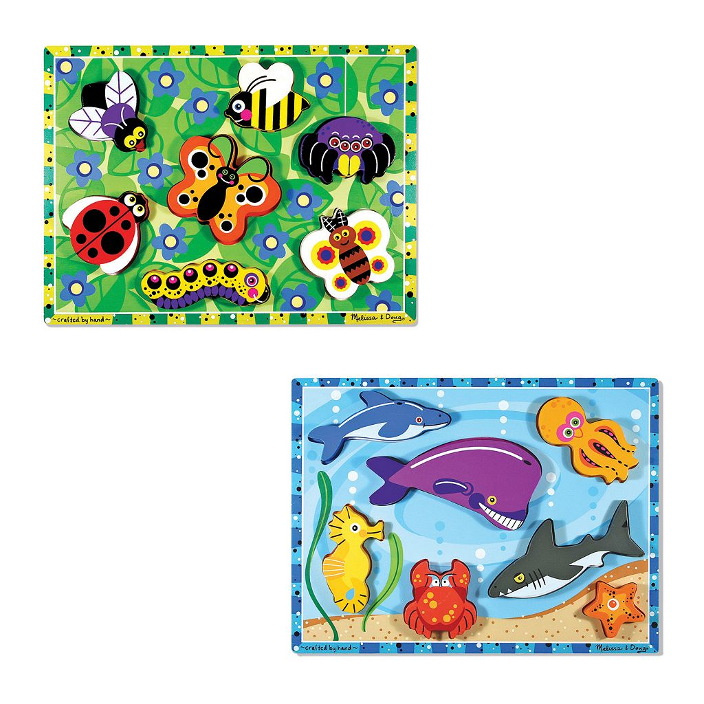 Melissa & Doug Insects & Sea Creatures Chunky Puzzle Bundle