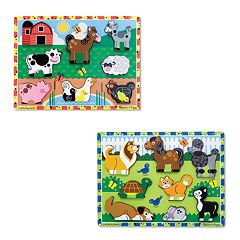 Melissa & Doug Farm & Pets Chunky Puzzle Bundle