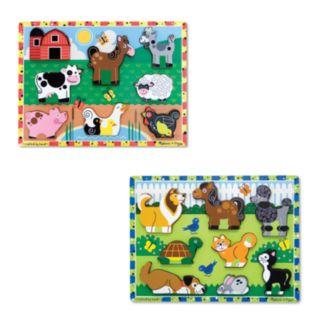 Melissa and Doug Farm and Pets Chunky Puzzle Bundle