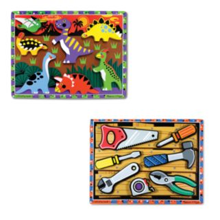 Melissa and Doug Dinosaurs and Tools Chunky Puzzle Bundle