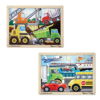 Melissa and Doug On the Go and Construction Jigsaw Puzzle Bundle