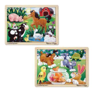 Melissa and Doug On the Farm and Playful Pets Jigsaw Puzzle Bundle