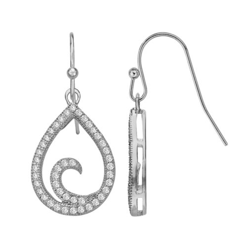 Silver Plate Cubic Zirconia Teardrop Earrings