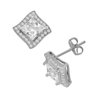 Silver Plate Cubic Zirconia Frame Stud Earrings