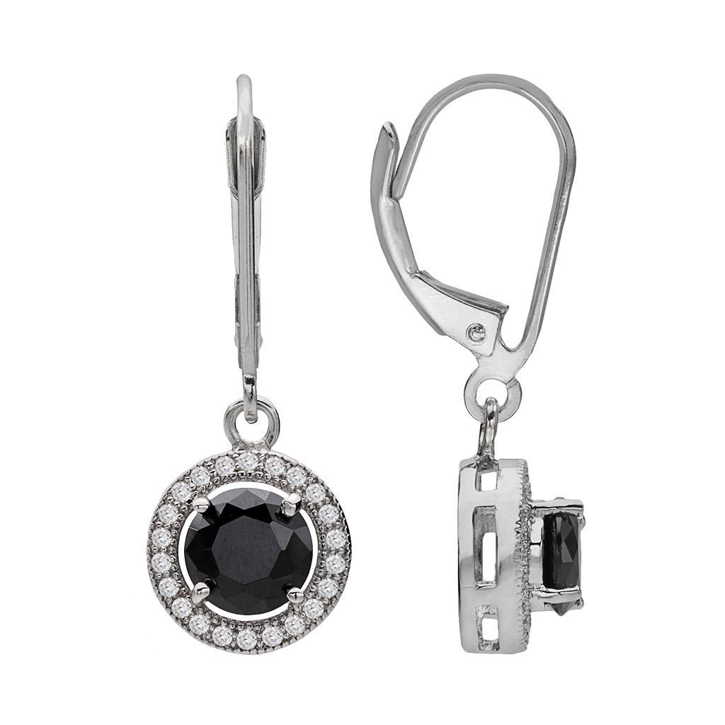 Silver Plate Black & White Cubic Zirconia Round Frame Drop Earrings