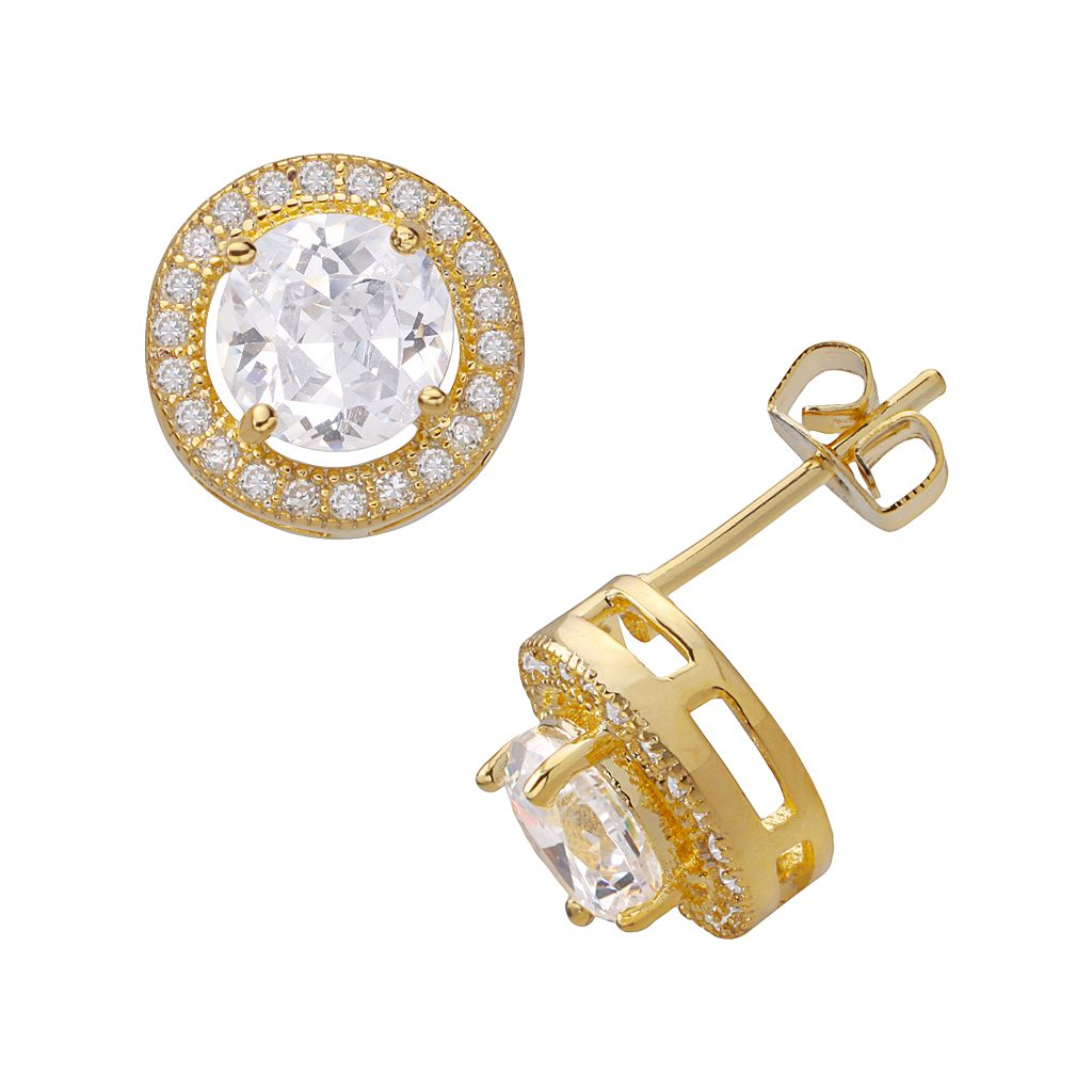 14k Gold Over Silver Plate Cubic Zirconia Frame Stud Earrings