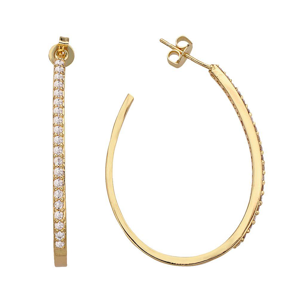 14k Gold Over Silver Plate Cubic Zirconia U-Hoop Earrings