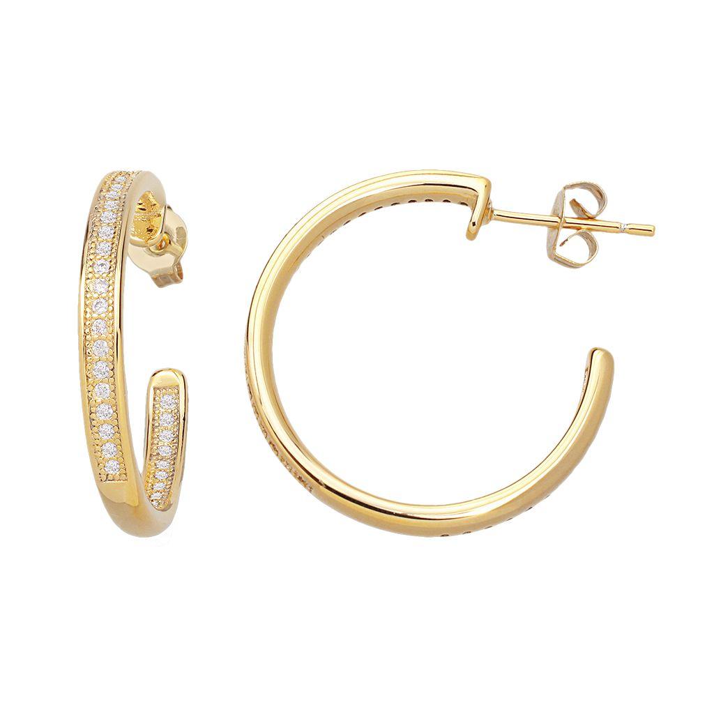 14k Gold Over Silver Plate Cubic Zirconia Hoop Earrings