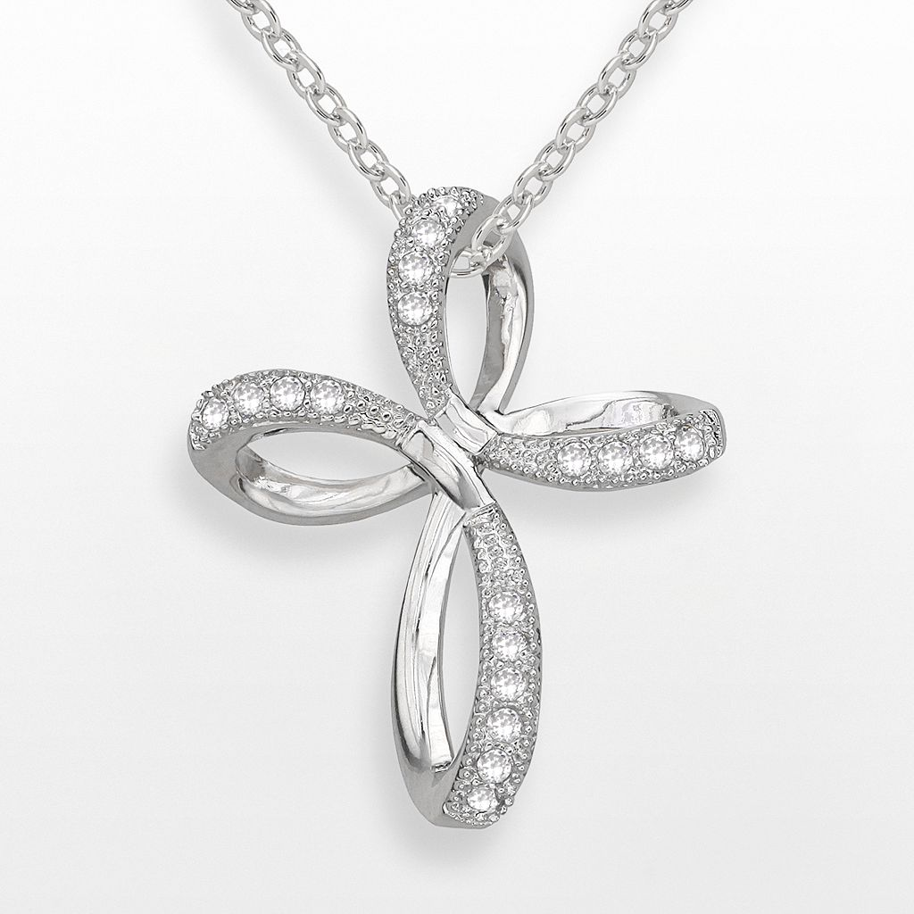 Silver-Plated Cubic Zirconia Twist Cross Pendant