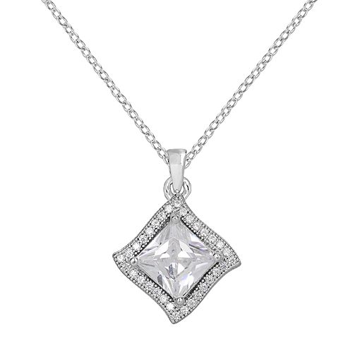 Silver-Plated Cubic Zirconia Halo Pendant