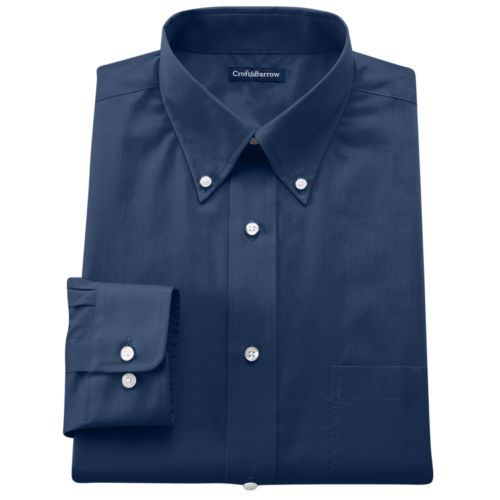 Croft & Barrow® Fitted Solid Broadcloth Button-Down Collar Dress Shirt - Men