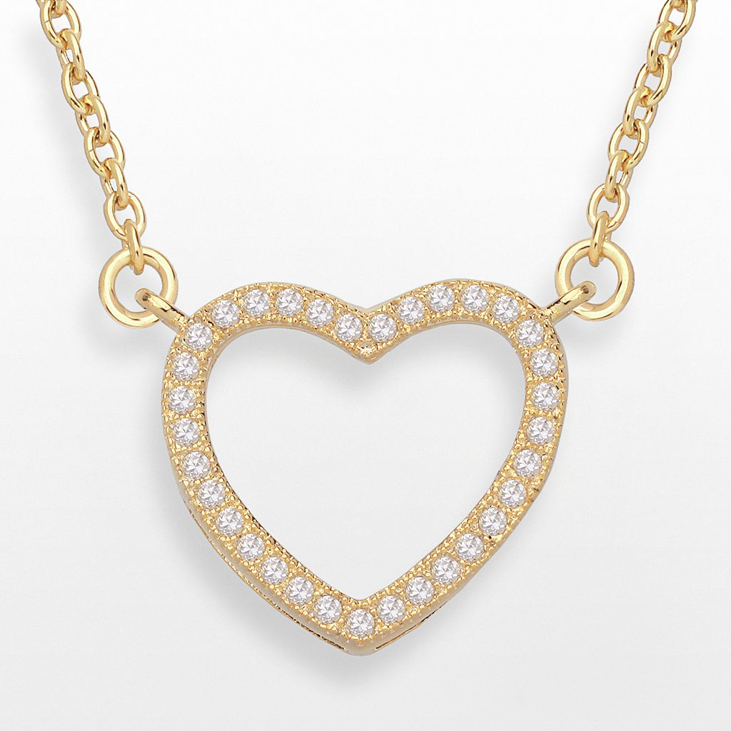 14k Gold Over Silver-Plated Cubic Zirconia Heart Necklace