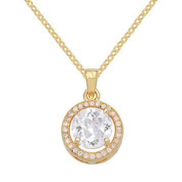 14k Gold Over Silver-Plated Cubic Zirconia Halo Pendant