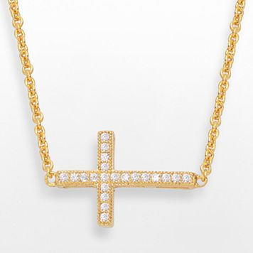 14k Gold Over Silver-Plated Cubic Zirconia Sideways Cross Necklace