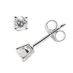 14k White Gold 1/4 ctT.W. IGI Certified Round-Cut Diamond Solitaire Earrings