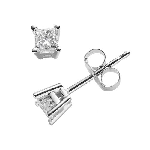 14k White Gold 1/4-ct. T.W. IGI Certified Princess-Cut Diamond Solitaire Earrings