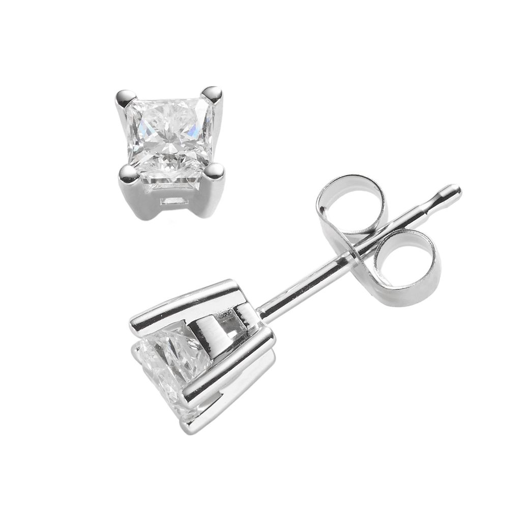 14k White Gold 1/2-ct. T.W. IGI Certified Princess-Cut Diamond Solitaire Earrings