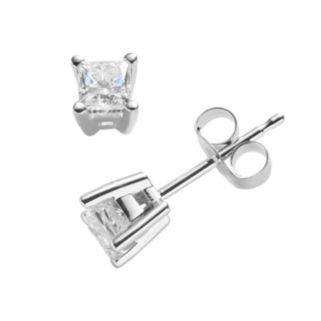 14k White Gold 1/2-ct. T.W. IGI Certified Princess-Cut Diamond Solitaire Earrings