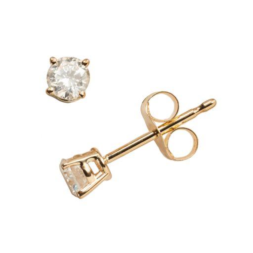 14k Gold 1/4-ct. T.W. IGI Certified Diamond Solitaire Earrings