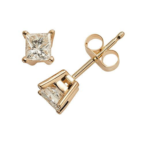 14k Gold 1/2-ct. T.W. IGI Certified Diamond Solitaire Earrings