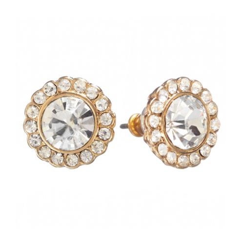 LC Lauren Conrad Gold Tone Simulated Crystal Round Frame Stud Earrings