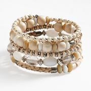 SONOMA life + style Bead and Leather Coil Bracelet