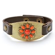 SONOMA life + style Simulated Crystal Floral Cabochon Leather Bracelet