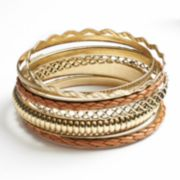 SONOMA life + style Metal and Leather Woven Bangle Bracelet Set