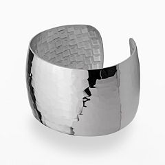 Stainless Steel Hammered Cuff Bracelet