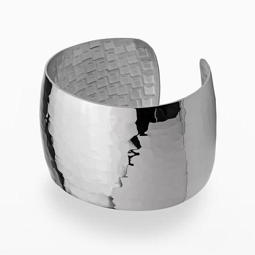 Stainless Steel Hammered Cuff Bracelet