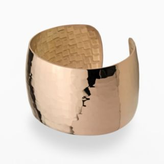 Stainless Steel Brown Ion Hammered Cuff Bracelet