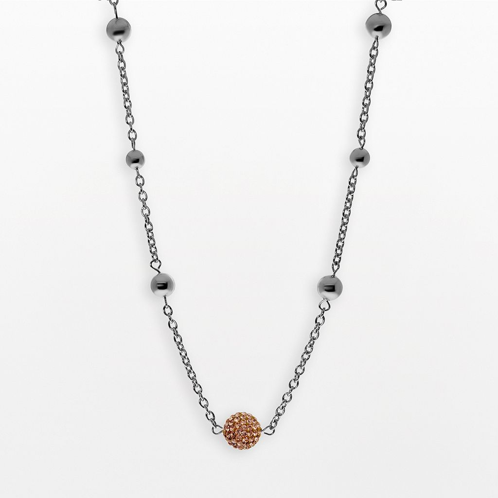 Stainless Steel Crystal Bead Station Necklace