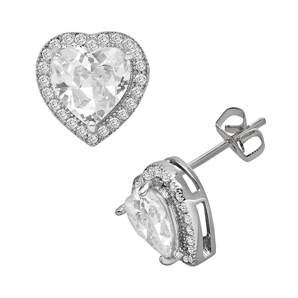 Silver Plate Cubic Zirconia Heart Stud Earrings
