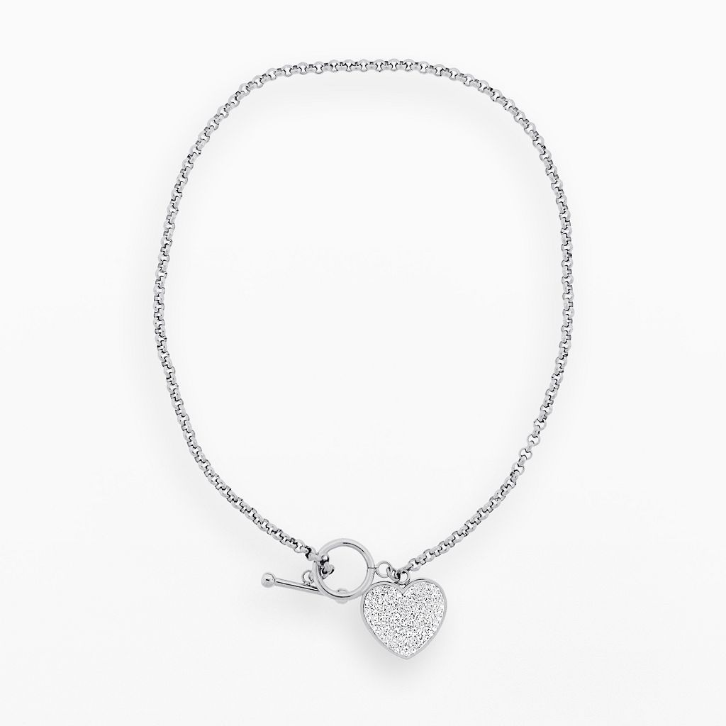 Stainless Steel Crystal Heart Charm Necklace