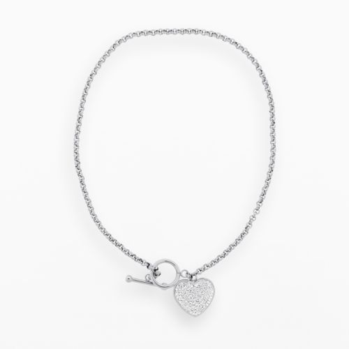 Stainless Steel Silver Crystal Heart Charm Necklace