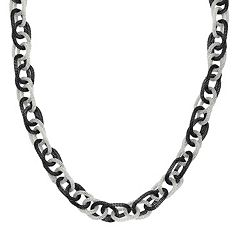Stainless Steel Two-Tone Rolo Chain Necklace
