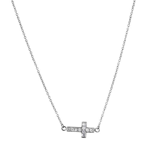 Stainless Steel Cubic Zirconia Sideways Cross Necklace