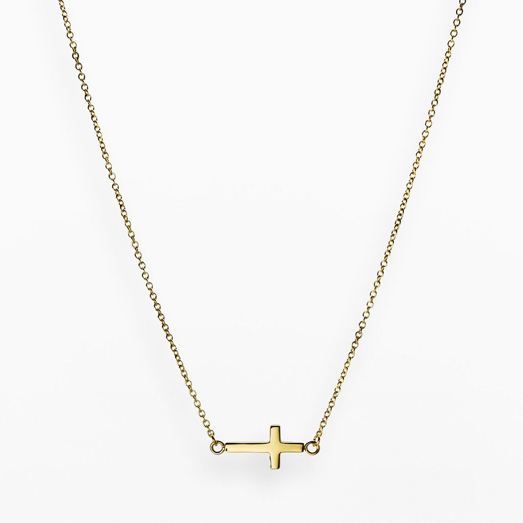 Stainless Steel Yellow Ion Sideways Cross Necklace